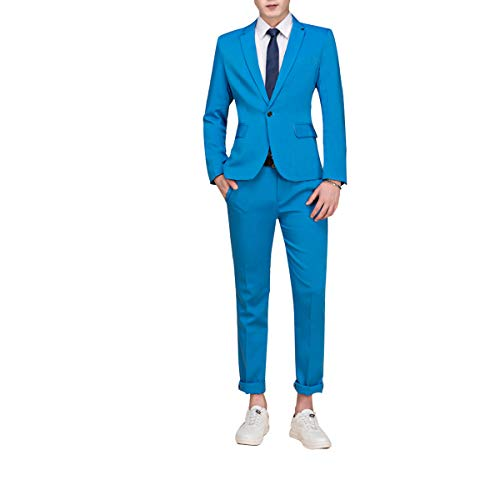 Cloudstyle Mens Suit Single-Breasted One Button Center Vent 2 Pieces Slim Fit Formal Suits