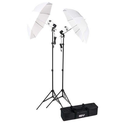 (Smith-Victor KT750LED 750 Watt 2 LED Lights, Stands & Umbrellas Studio Kit &)