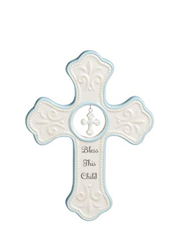 NAT and Jules Bless This Child Hanging Cross, Blue