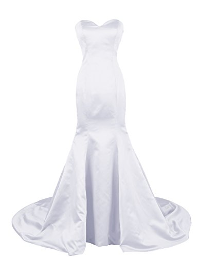 Dresstells Long Prom Dress Satin Mermaid Eveing Gown Bridal Dress with Train White Size 4