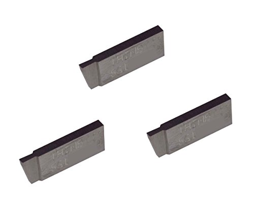 3 Pack SGI046D5.046 Width.100 Depth, Uncoated Carbide, Sharp Corner, THINBIT Grooving Insert for Non-Ferrous Alloys, Aluminium, Plastic No Interrupted cuts by LITTLEBIT
