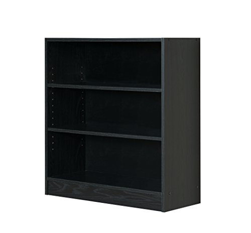 Mylex Three Shelf Bookcase; Two Adjustable Shelves; 11.63 x 29.63 x 31.63 Inches, Black, Assembly Required (43064) by Mylex