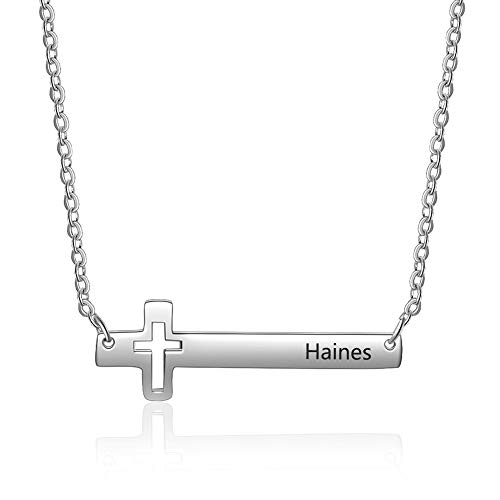 Ashleymade Personalized Cross Necklace for Women Stainless Steel Sideways Horizontal Cross Pendant Necklace Engraved Name Necklace Sister Necklace Birthday Gifts