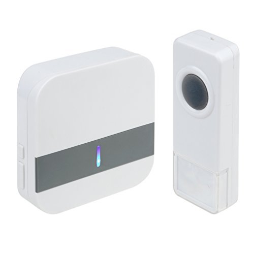 Wireless Doorbell Waterproof Chime Kit Operating at Over 500 Feet Range, 52 Chimes, 4 Adjustable Volume, No Battery Required for Receiver and LED Flash