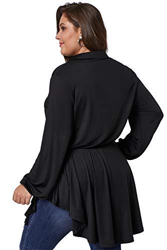 Bajo Posterior Cuello Negro En Lazo Top Cintura Curvado Grande V La Blusón Escalonado Plisado Peplum Blusa Camisa A Larga Ribete Talla Manga Cinturón Sobrefalda gw7xS6