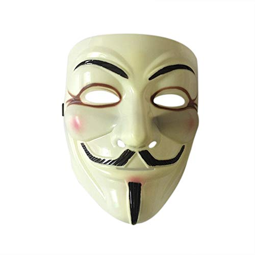 Nuoka V for Vendetta Hallloween Anonymous Costume Cosplay V Mask with Vinyl Sticker -