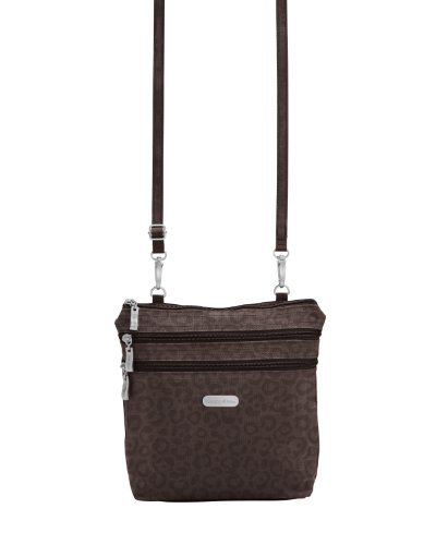 Baggallini Zipper Bag Borsa Messenger, Marrone (Cheetah Espresso)