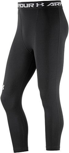 Under Armour Men's HeatGear Armour ¾ Compression Leggings, Black /White, X-Large by Under Armour (Image #1)