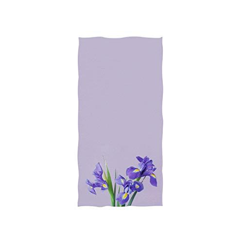 Naanle Iris Flowers Spring Floral Print Purple Flower On Light Violet Soft Bath Towel Absorbent Hand Towels Multipurpose for Bathroom Hotel Gym and Spa 30