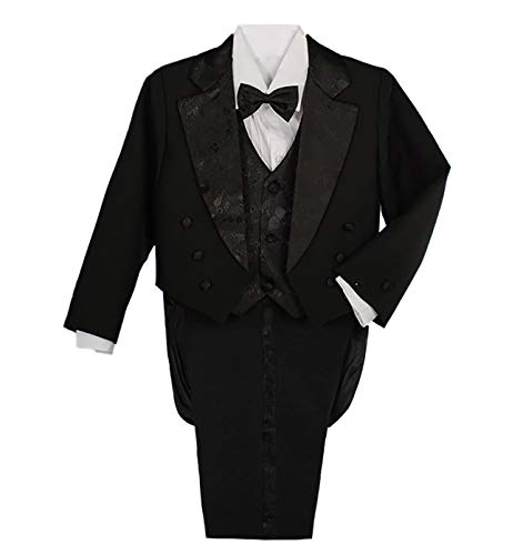 Dressy Daisy Boys' Classic Fit Tuxedo Suit with Tail 5 Pcs Set Formal Suits Wedding Outfit Size 8 Black -
