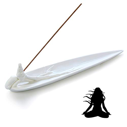 avena Buddha Ceramic Incense Burner - Bamboo Leaves Porcelain Incense Stick Holder Whiteware Cone Ash Catcher Tray