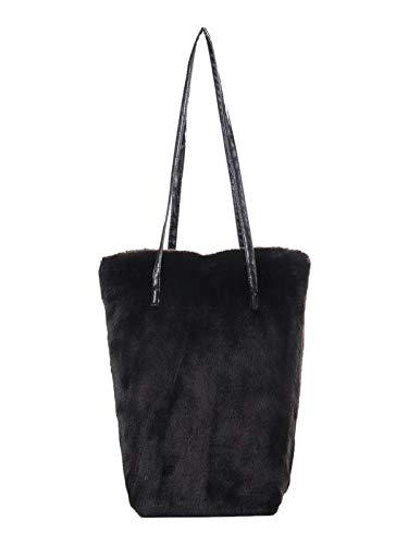 c021f26a23 Kim88 Women Faux Fur Handbag Winter Soft Solid Color Large Double Belt Top  Handle Shoulder Bag