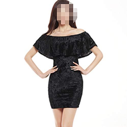 qentom Sexy Off Shoulder Sheath Velvet Mini Dress Slash Neck Strapless Women Party Dress, Black,XL