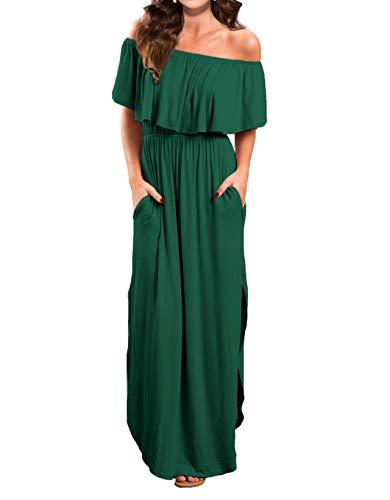 VERABENDI Women's Off Shoulder Summer Casual Long Ruffle Beach Maxi Dress with Pockets Medium Dark - Necklace Casual Green