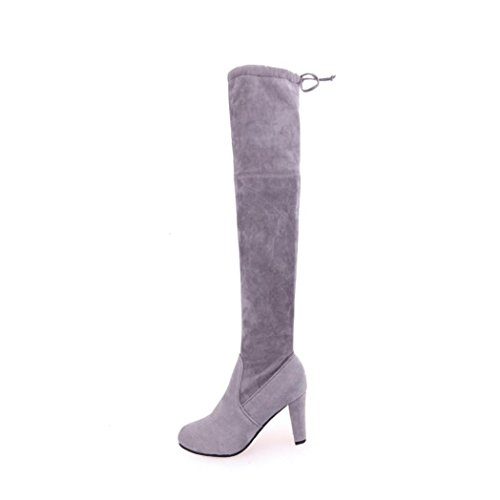 Women Faux Slim Thigh High Boots, Over The Knee Party Stretch Block Mid HeelBoots High Heels Shoes by MML Gray