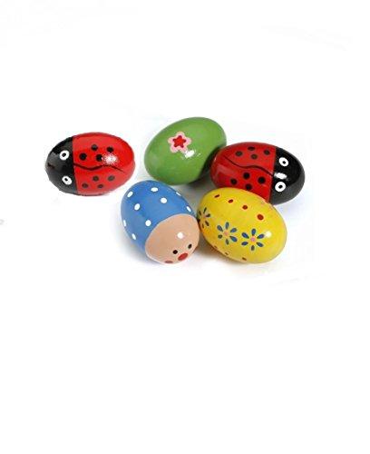 Musuntas 4PCS Baby Egg Maracas Musik Shaker aus Holz Rattle Percussion Instrument Spielzeug perfekte Geschenk für Kinder