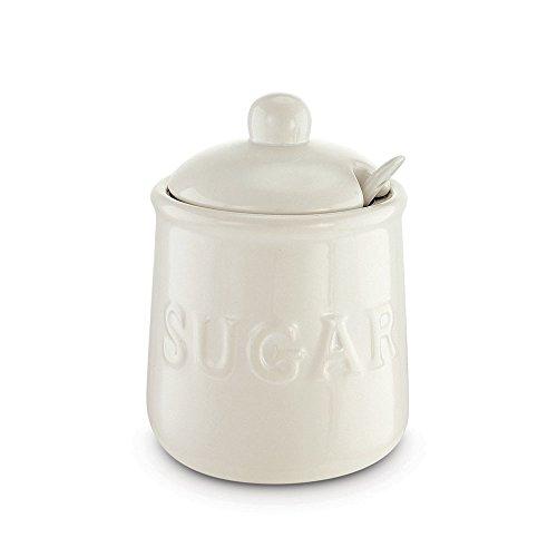 Kovot Ceramic Sugar Jar   Spoon Set  16 Oz  White
