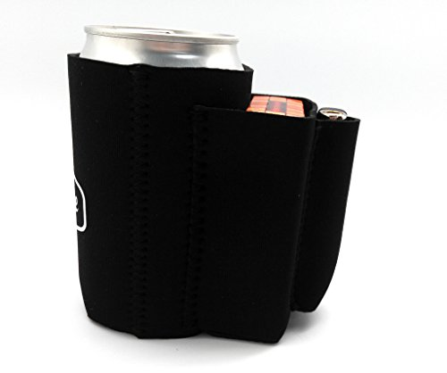 Beer Can Chuggie With Two Pockets - Holds Cigarette And Lighter, Phone, Keys, 3mm Neoprene (Black, 1 Pack)