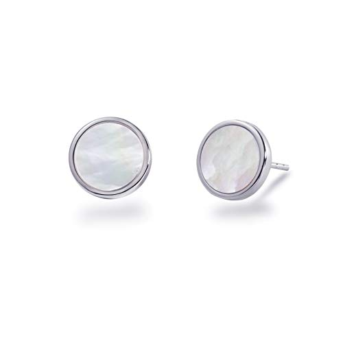 S.Leaf Minimalism Mother of Pearl Stud Earrings Sterling Silver Round Disc Stud Earrings for Women (white gold)