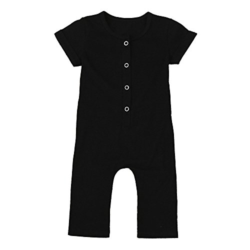 oys Girls Simple Short Sleeved Jumpsuit Solid Color Jumpsuit Romper Clothes (Black, 6-12 Months) ()