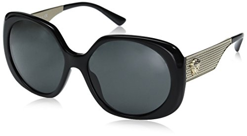 Versace Womens Metal Mesh Collection Sunglasses (VE4331) Black/Grey Acetate - Non-Polarized - 57mm