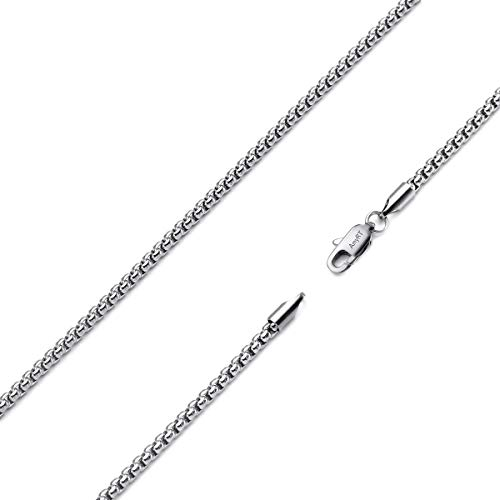 AmyRT Silver Popcorn Box Chain Necklace,3mm Stainless Steel Womens Mens Chain Necklace 22 Inch