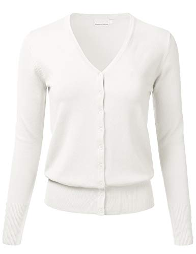 Women's Button Down V-Neck Long Sleeve Soft Knit Cardigan Sweater Ivory M