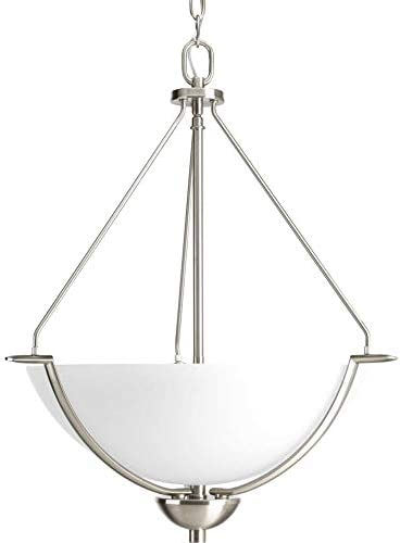 Progress Lighting P3912-09 Transitional Three Light Inverted Pendant from Bravo Collection in Pwt, Nckl, B S, Slvr. Finish, Brushed Nickel