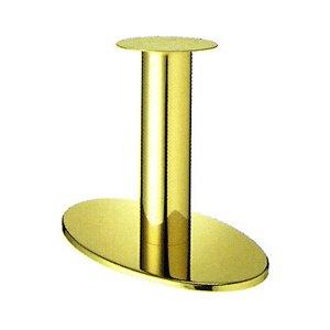 e-kanamono テーブル脚 オーバルS7700 ベース700x420 パイプ101.6φ 受座280φ ゴールドメッキ AJ付 高さ700mmまで B012CC7V7S