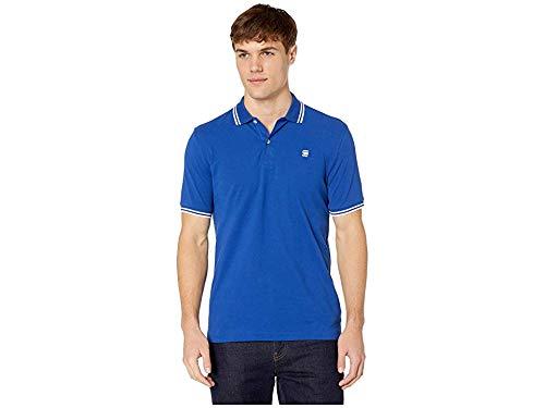 Mens Organic Pique Polo - G-Star Men's Dunda Slim Stripe Short Sleeve Polo Hudson Blue/Milk XX-Large