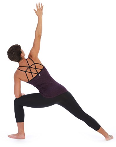 American Fitness Couture Womens Strappy Lattice Back Workout Top Built in Sports Bra, Heather Violet Lg by American Fitness Couture (Image #2)