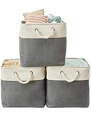 "DECOMOMO Foldable Storage Bin | Collapsible Sturdy Cationic Fabric Storage Basket Cube W/Handles for Organizing Shelf Nursery Home Closet (Dark Grey & White, Cube - 13 x 13 x 13""- 3 Pack)"