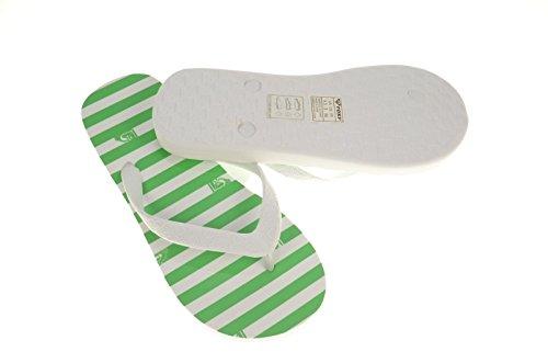 Roxy Jet Set Zehentrenner Badeschuhe Strandschuhe grün weiß