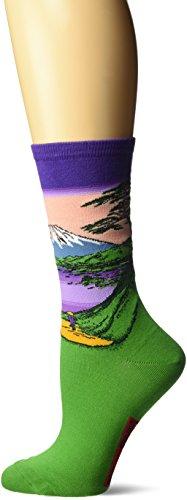 (Hot Sox Women's Artist Series Crew Socks, Mt Fuji Over The Lake (Violet), Shoe Size: 4-10)