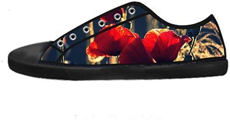 Daniel Turnai Fan Customized Poppy Flower Top Canvas Shoes for Men