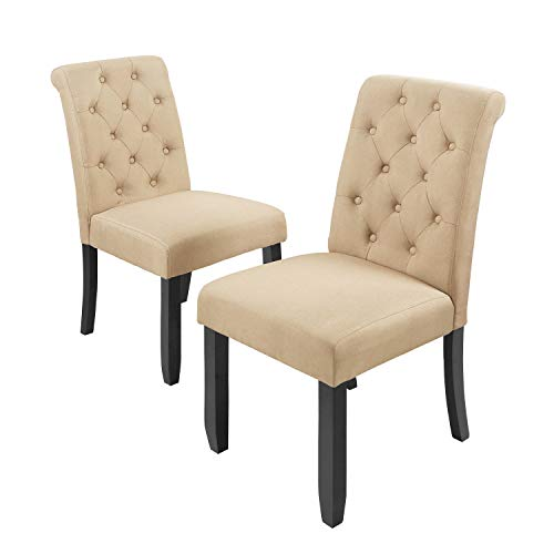 WLIVE Set of 2 Fabric Dining Chair, Button Tufted Parsons Chair, Upholstered Side Chairs with Wood Legs