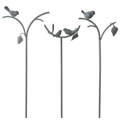 Cbk Pedestal - Bird Single Garden Stake [Set of 3]