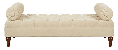 Jennifer Taylor Home Bolster Collection Hand-Tufted Upholstered Entryway Bench with 2 Detachable Bolster Style Pillows, Beige by Jennifer Taylor Home