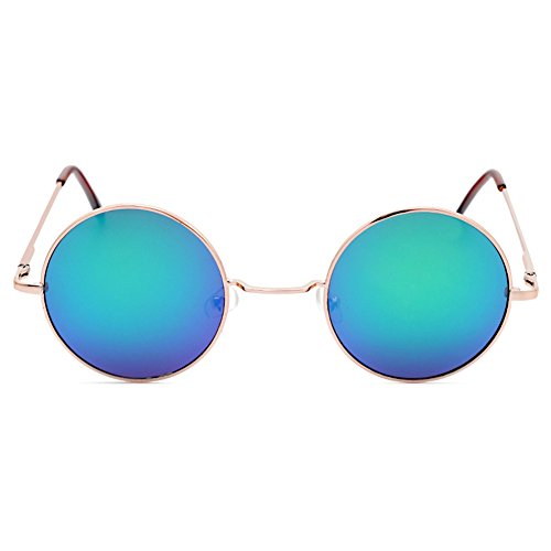 Reflective soleil 60s 70s Or Multi Cadre Hippie Deylay Color de Homme Steampunk Vintage Femme Lunettes Rond Green HwvS0axq