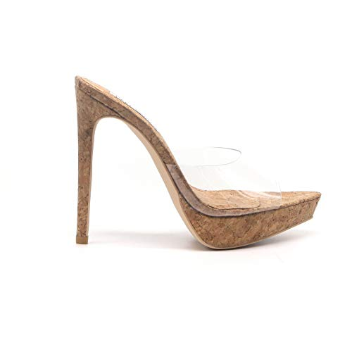 (Shoes2Die4 Cape Robbin Lovely Clear Pointy Peep Toe Cork Platform Stiletto Mules)