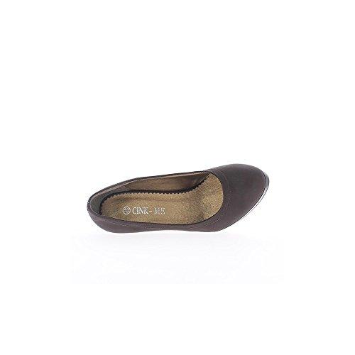 Escarpins femme marrons à talon de 11cm et plateforme de 1,5cm