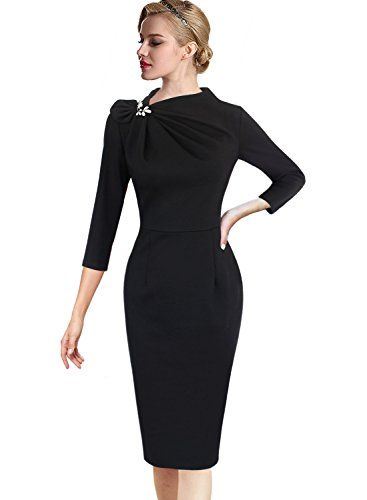 Wiggle Sheath (VFSHOW Womens Pleated Asymmetric Bow Neck Work Cocktail Party Sheath Dress 18333 Blk XS)