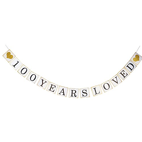 LINGPAR 100 Years Loved Banner -100th Birthday Party 100th Anniversary Party Decoration Bunting (Gold and White) -