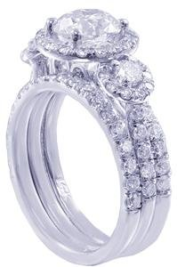 5 Stones Prong (14K White Gold Round Cut Diamond Engagement Ring and Two Bands Prong Set Three Stone Style Bridal Wedding Set 1.70ctw Available Size 3-12)