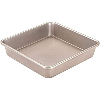 CHEFMADE 8-Inch Square Cake Pan, Non-Stick Deep Dish Bakeware, FDA Approved for Oven Baking (Champagne Gold)
