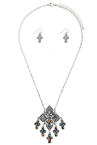 [KARMAS CANVAS CROSS PATTERN ETCHED BIRD PENDANT NECKLACE SET (Antique Silver)] (Lobster Claw Costume Pattern)