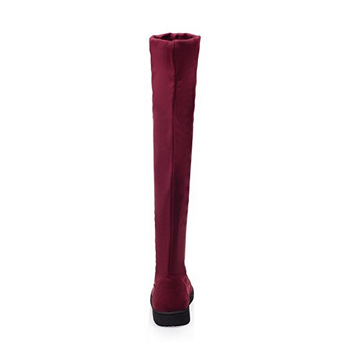 Heels Boots Red Pull AgooLar Low On Toe Frosted Round Solid Women's Closed 6rTw4TxXWq