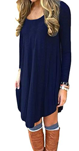 (DEARCASE Women's Long Sleeve Round Neck Casual Loose T-Shirt Dress Navy Blue M)