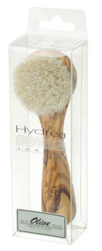 Hydrea London Exfoliating Body Scrub - Facial Cleansing Brush - Natural Olive Wood Handle - Pure Horsehair Mane Bristles