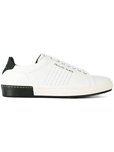 Uomo Bianco Philipp nero Pelle Sneakers Plein Msc1090ple075n02